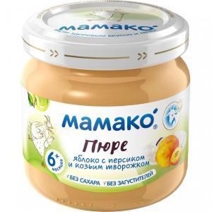 Пюре  яблоко-персик-козий творог с 6 месяцев, 80 г Мамако