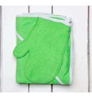 Комплект  полотенце/рукавица 90 х 110 см, цвет: салатовый Утенок