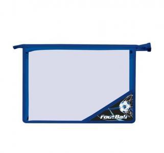 Папка для тетрадей А4 пластик  цв.угол черн/синяя Футбол Brauberg