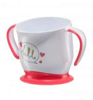 Кружка  Baby cup with suction base на присоске, цвет: красный Happy