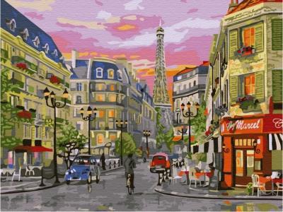Картина по номерам с цветной схемой на холсте Парижская улица 40х30 см Molly