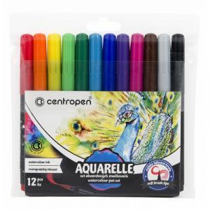 Фломастеры  Набор акварельных маркеров-кисточек 12 цветов Centropen