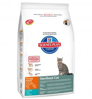 Сухой корм Hills Science Plan Sterilised Cat Young для взрослых кошек /для после стерилизации, тунец, 3.5кг Hill's
