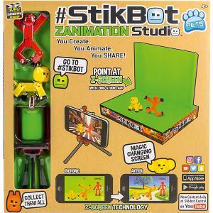 Анимационная студия  Stikbot со сценой и питомцем, красный человек, желтый пес Zing