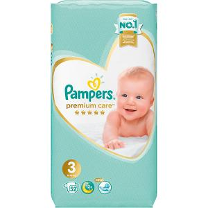 Подгузники  Premium Care 6-10 кг, 52 шт Pampers