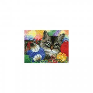 Картина по номерам  «Котик с клубочками», 40х30 см Белоснежка