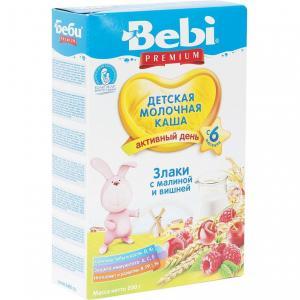 Каша  молочная злаковая с малиной и вишней 6 месяцев 200 г Bebi