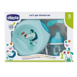 Набор посуды для кормления  4 предмета, цвет: голубой Chicco