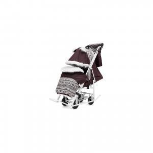 Санки-коляска  Pikate Снежинки на тёмно-серой раме, фиолетовый ABC Academy. Цвет: фиолетовый