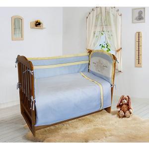 Комплект постельного белья из 6 предметов  Лунная прогулка голубой в горошек Soni Kids. Цвет: голубой