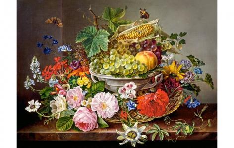 Пазлы Натюрморт с цветами и фруктами (2000 деталей) Castorland
