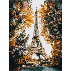 Картина по номерам с цветной схемой на холсте Париж Эйфелева башня 40х30 см Molly