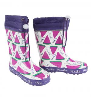 Резиновые сапоги  Арбуз, цвет: белый/фиолетовый Reike