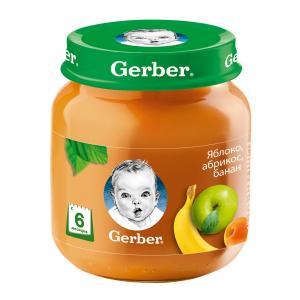 Пюре  яблоко-абрикос-банан, с 6 месяцев, 130 г Gerber