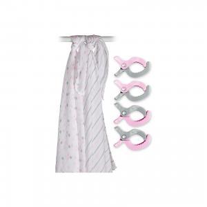 Муслиновая пелёнка 2 шт. с клипсами 4 шт., 120х120, , розовый Lulujo