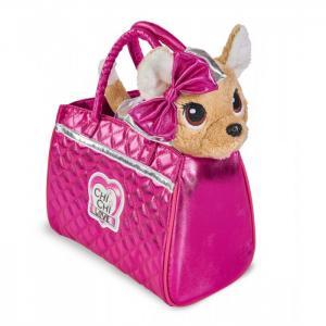Мягкая игрушка  Плюшевая собачка Гламур с розовой сумочкой и бантом 20 см Chi-Chi Love