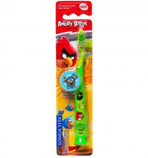 Зубная щетка  Angry birds с защитным колпачком, цвет: зеленый Longa Vita