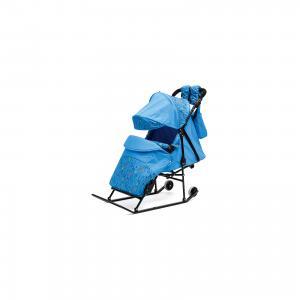 Санки-коляска  Зимняя сказка 3В Авто, черная рама, голубой/зоопарк ABC Academy. Цвет: голубой