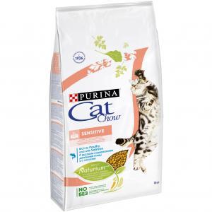 Корм сухой  Special Care Naturium для взрослых кошек с чувствительным пищеварением, птица/лосось, 15кг Cat Chow