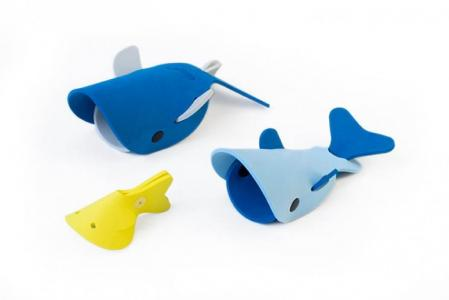 Мягкий 3D конструктор для игры в ванне Глубоководные киты (3 элемента) Quut