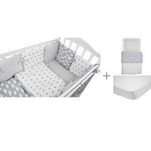 Комплект в кроватку  Sky (15 предметов) с постельным бельем и наматрасником Forest