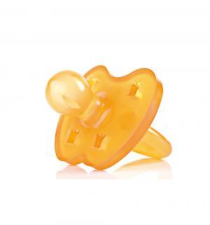 Пустышка  Crown круглая каучук, с рождения, цвет: оранжевый Hevea