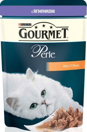 Корм влажный  Perle для взрослых кошек, ягненок, 85г Gourmet