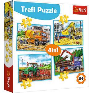 Пазлы Treft Большие строительные машины, 35-48-54-70 элементов Trefl