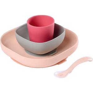 Набор посуды Beaba Silicone Meal Set, розовый BÉABA. Цвет: розовый