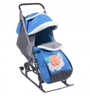 Санки-коляска  2 медведя на облаке, цвет: синий Galaxy
