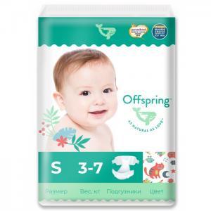 Эко-подгузники Котики размер S (3-7 кг) 48 шт. Offspring
