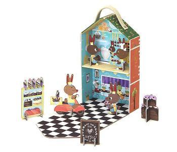 Игрушки из картона: набор для путешествий Кроличья пекарня Krooom
