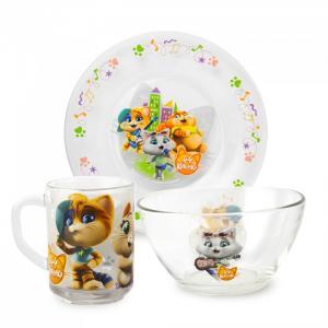 ND Play Набор посуды из матового стекла 44 Котенка (3 предмета)