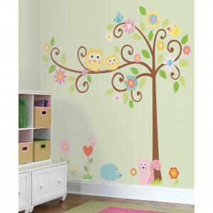 Наклейки для декора Дерево с завитками RoomMates. Цвет: mehrfarbig