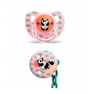 Пустышка  с держателем латекс, 6 мес, цвет: розовый Suavinex