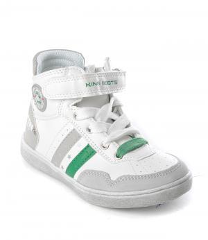 Ботинки на молнии для мальчика (бело-зеленые) King Boots. Цвет: белый