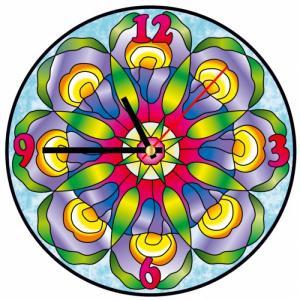 Часы витражные Хрустальные ирисы Color Kit
