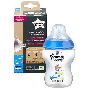 Бутылочка для кормления  Closer to Nature с антиколиковым клапаном, 260 мл., синяя Tommee Tippee. Цвет: разноцветный