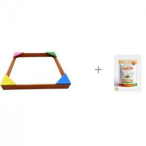Песочница деревянная цветная 110х110 см и Песок для песочниц Mixplant Емеля 14 кг Ранний старт
