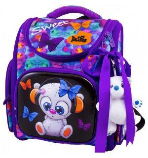 Ранец школьный  с мешком и мишкой 28х16х33 см De Lune