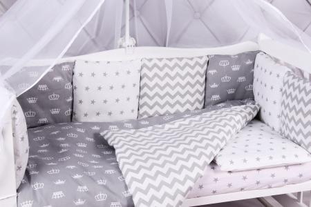 Комплект постельного белья  Royal Baby, цвет: белый/серый 7 предметов Amarobaby
