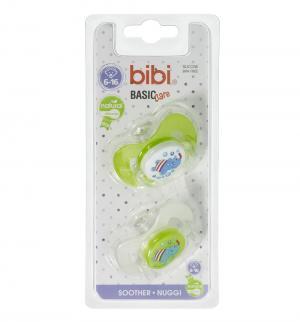 Набор пустышек  Natural Коллекция №6 BasicCare силикон, цвет: зеленый/белый Bibi