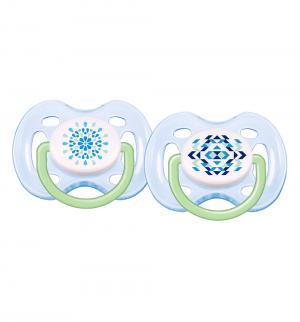 Набор пустышек  Freeflow дизайн силикон, цвет: голубой/голубой Avent