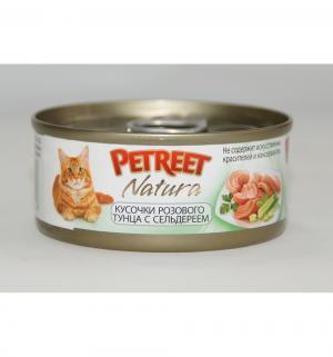 Влажный корм  для взрослых кошек, кусочки розового тунца/сельдерей, 70г Petreet