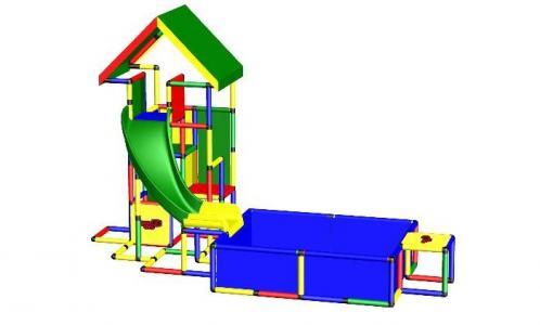 Конструктор крупногабаритный Universal с винтовой горкой и бассейном L Quadro