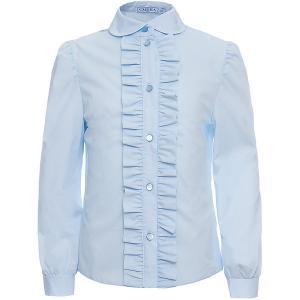 Блузка  для девочки Смена. Цвет: голубой