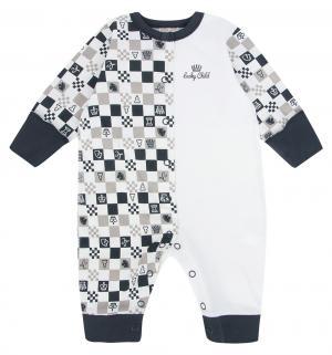 Комбинезон  Шахматный турнир, цвет: бежевый/серый Lucky Child