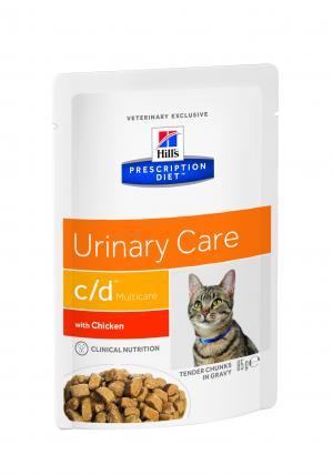 Влажный диетический корм Hills Prescription Diet c/d для взрослых кошек при мочекаменной болезни, курица, 85г Hill's