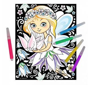 Аппликация  раскраска на бархате Фея цветов Креатто
