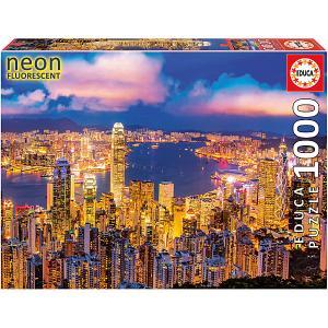 Пазл  Гонконг, небоскребы, с неоновым свечением, 1000 элементов Educa